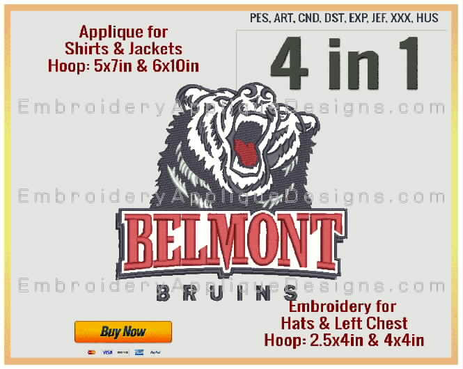 Belmont Bruins - NCAA Sports Team Logo - 4 sizes - Filled Embroidery for  2 5x4in, 4x4in hoops & Applique for 5x7in and 6x10in hoops