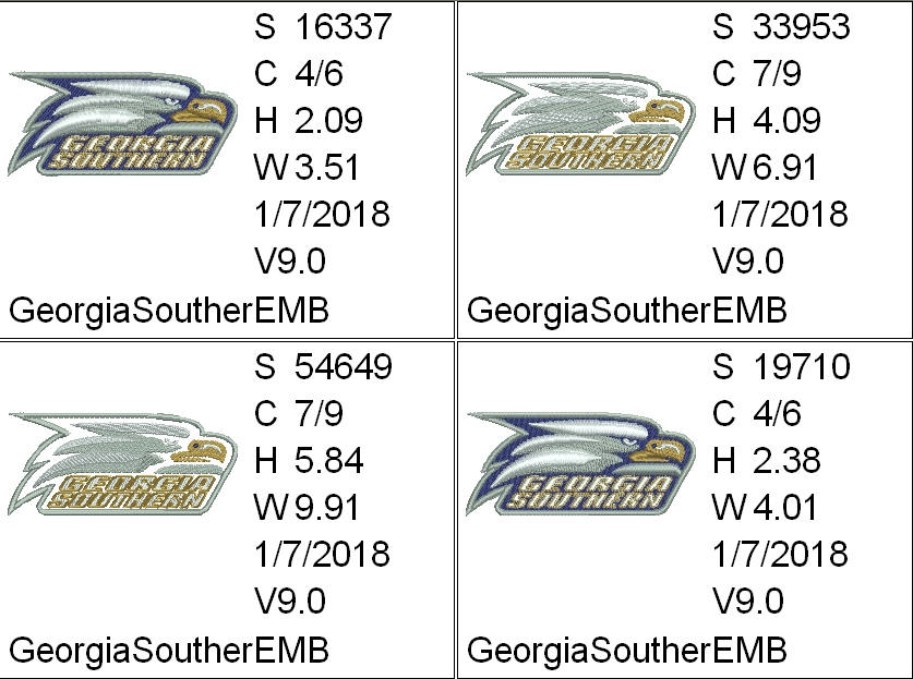 Georgia Southern Eagles - NCAA Sports Team Logo - 4 sizes - Embroidery for  2 5x4in, 4x4in hoops & Applique for 5x7in and 6x10in hoops